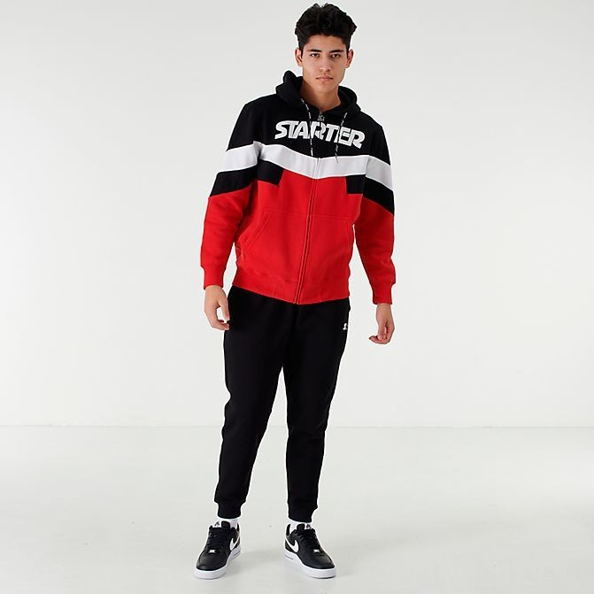 Men's Starter Colorblock Full-Zip Hoodie Red/Black Sales