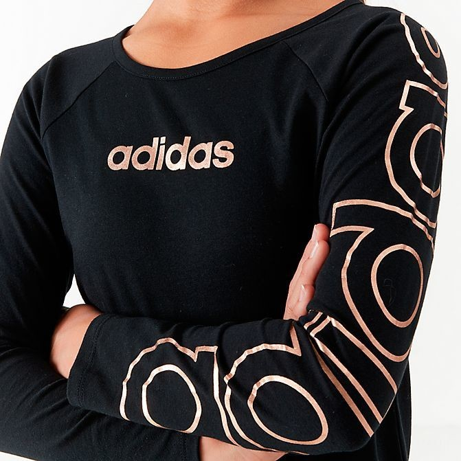 Girls' Toddler and Little Kids' adidas Raglan Long-Sleeve T-Shirt Black/Metallic Sales
