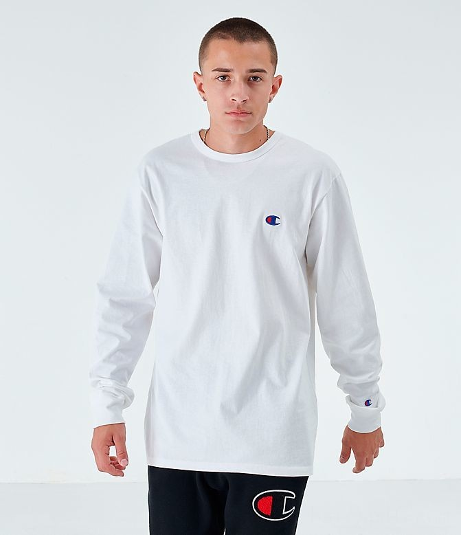 Men's Champion Back Logo Long-Sleeve T-Shirt White Sales