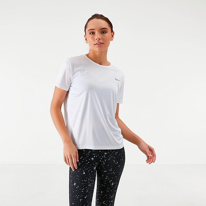 Women's Nike Miler Short-Sleeve Running Top White/Reflective Silver Sales