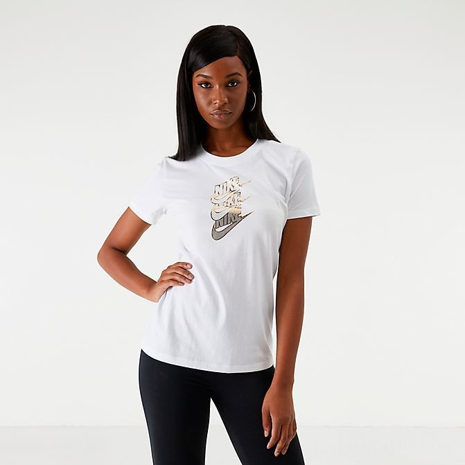 Women's Nike Shine Futura T-Shirt White/Metallic Gold Sales