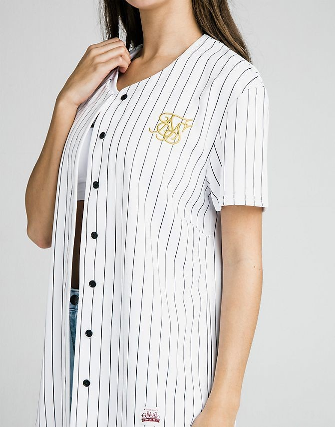 Women's SikSilk Baseball T-Shirt White Sales