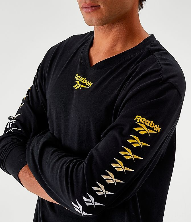 Men's Reebok Classics Multi Vector Long-Sleeve T-Shirt Black Sales