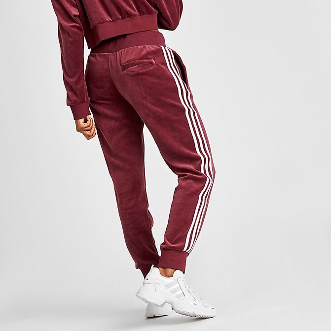 Women's adidas Originals 3-Stripes Velvet Track Jogger Pants Maroon Sales