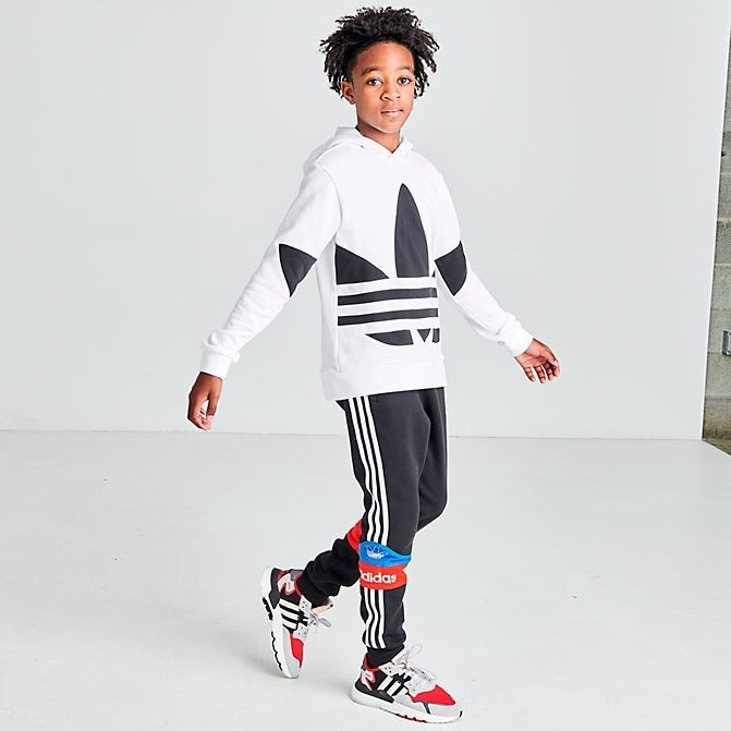 Kids' adidas Originals Big Trefoil Hoodie White/Black Sales