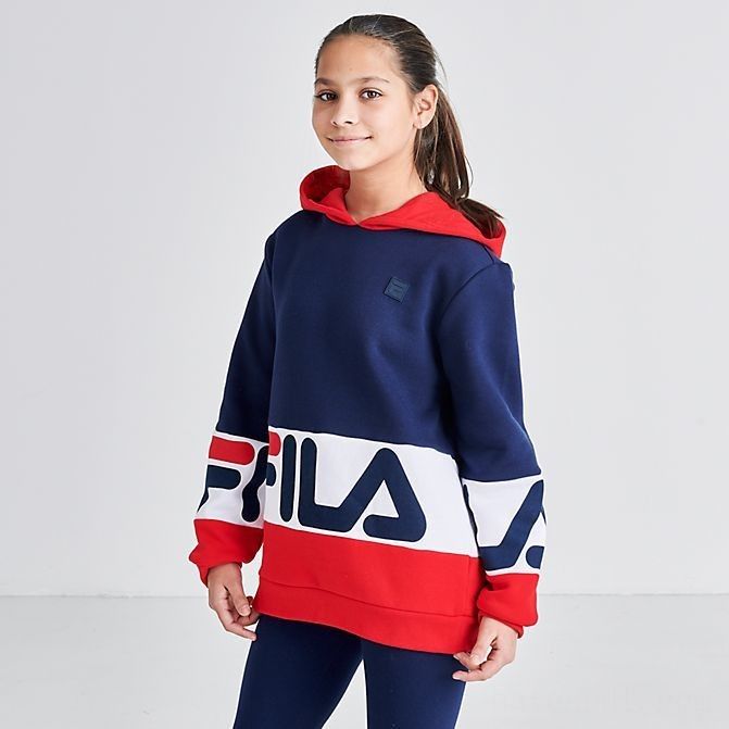 Kids' Fila Landon Hoodie Black/White/Grey Sales