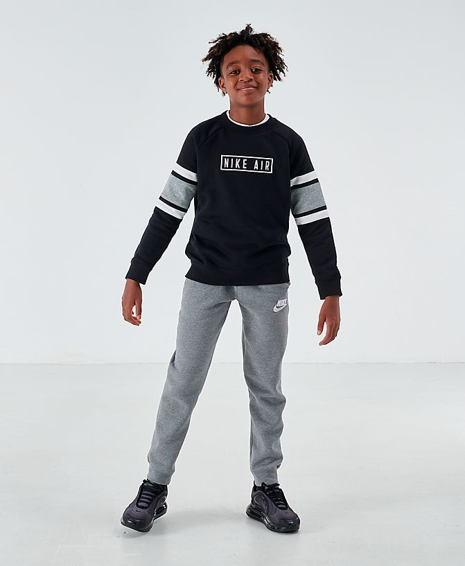 Boys' Nike Air Crewneck Sweatshirt Black/Dark Grey Heather/White Sales