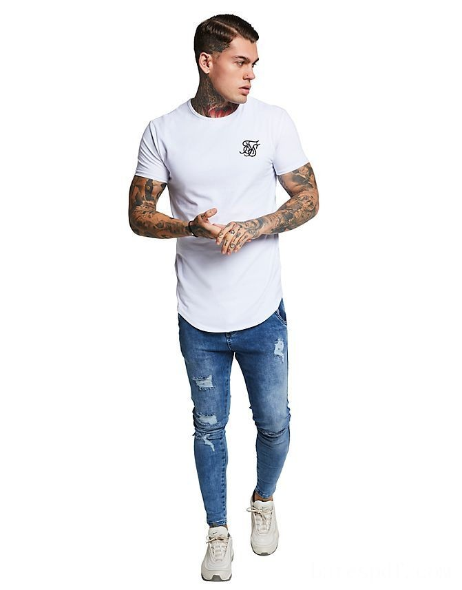 Men's SikSilk Curve T-Shirt White Sales