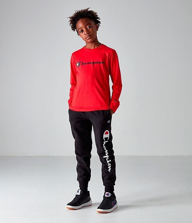 Boys' Champion Heritage Graphic Jogger Pants Black Sales