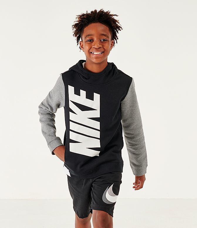 Boys' Nike Sportswear Amplify Hoodie Black/Carbon Heather/White Sales