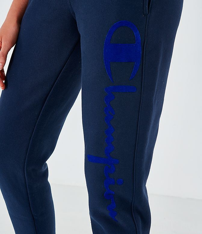 Women's Champion Reverse Weave Script Jogger Pants Navy Sales