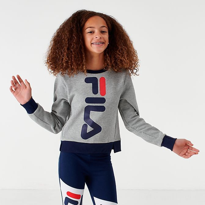 Girls' Fila Miss Mona Crop Crewneck Sweatshirt Grey Sales
