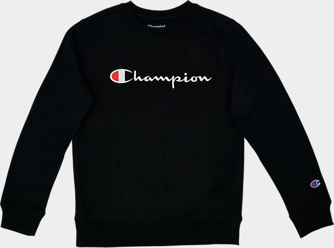 Kids' Champion Script Logo Crew Sweatshirt Black Sales