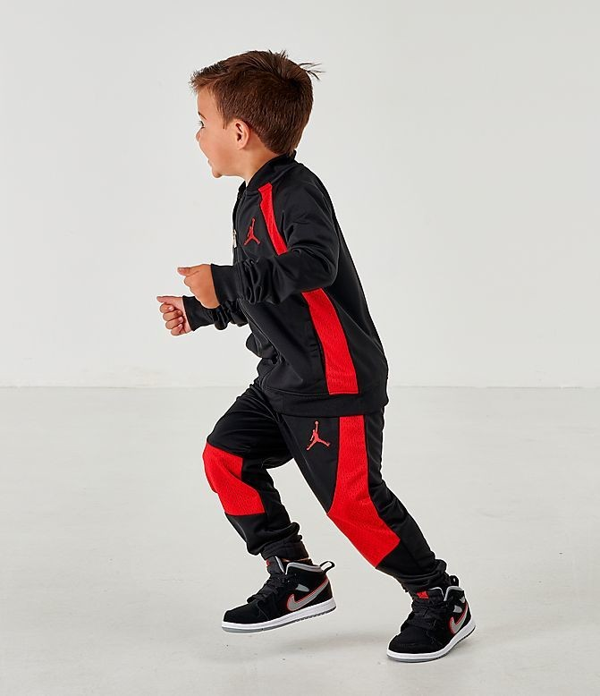 Boys' Toddler Air Jordan Retro 1 Tricot Track Jacket and Pants Set Black/Gym Red Sales