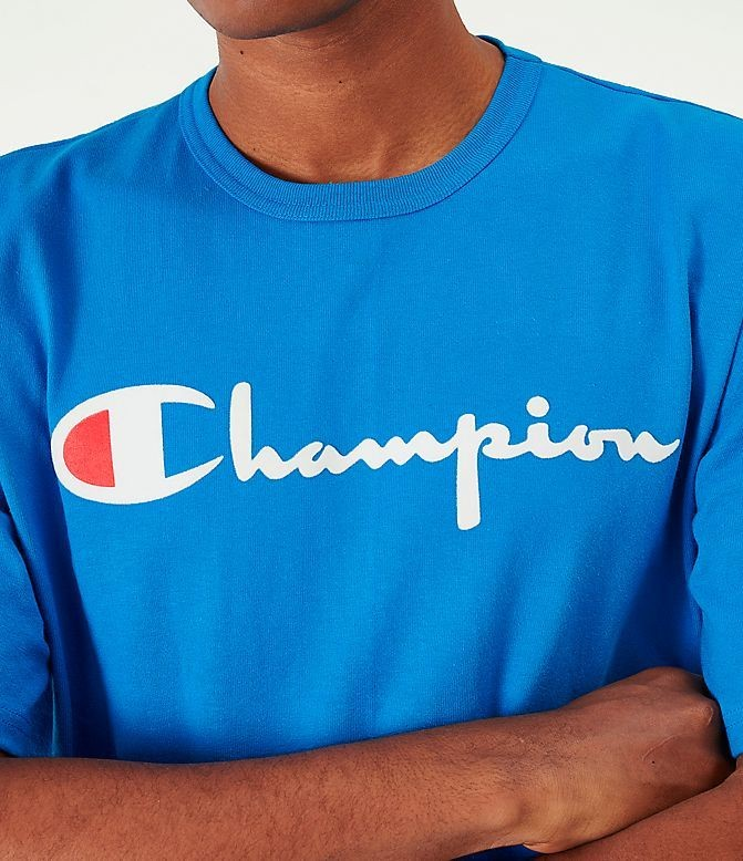Men's Champion Flocked T-Shirt Waves Blue/White Sales
