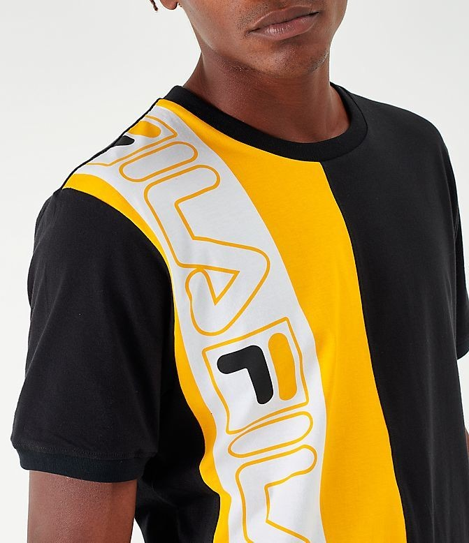 Men's Fila Dixon T-Shirt Black/Yellow/White Sales