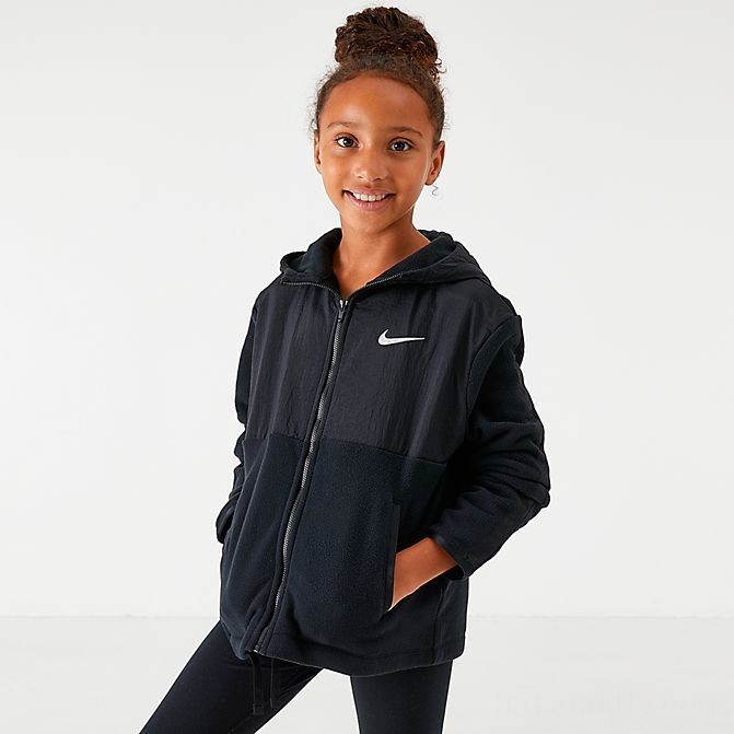 Girls' Nike Therma Full-Zip Training Hoodie Black Sales