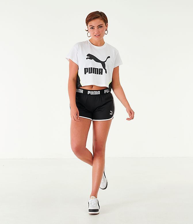 Women's Puma Logo Cropped T-Shirt White Sales