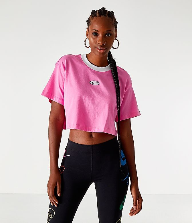Women's Nike Sportswear Swoosh Cropped T-Shirt China Rose Sales