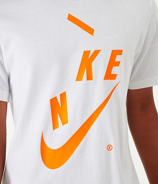 Men's Nike Sportswear Distorted Futura T-Shirt White/Orange Sales