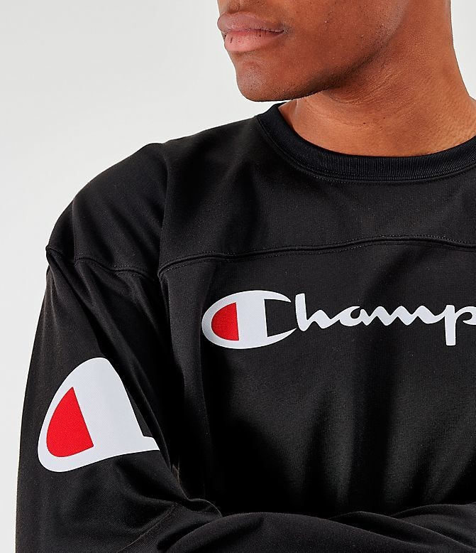 Men's Champion Long-Sleeve Football Jersey T-Shirt Black Sales