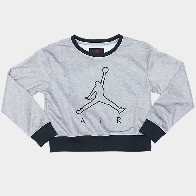 Girls' Jordan Future Outline Crewneck Sweatshirt Grey/Black Sales