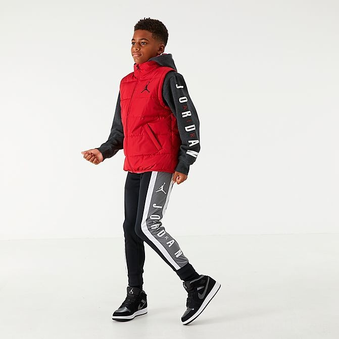 Boys' Jordan Sherpa Two-Fer Hoodie Black/Red Sales