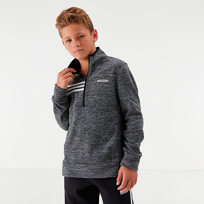 Boys' adidas Microfleece Half-Zip Sweatshirt Grey/Black Sales