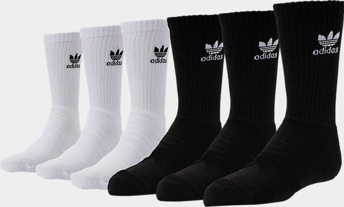 Kids' adidas Originals Crew Socks - 6 Pack White/Black Sales