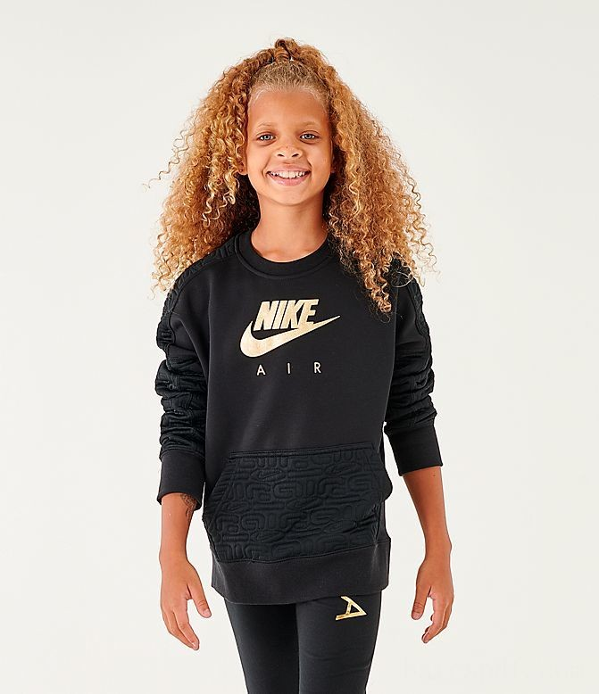 Girls' Nike Air Quilted Crewneck Sweatshirt Black/Gold Sales