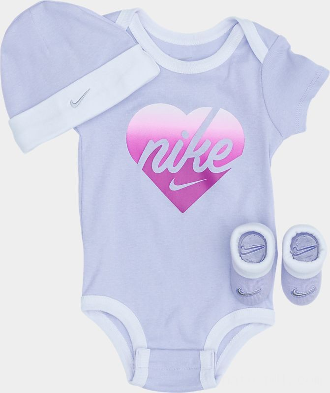 Girls' Infant Nike Shimmer Heart 3-Piece Box Set Lavendar Mist Sales