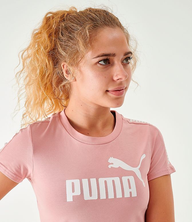 Women's Puma Amplified Fitted Logo Crop T-Shirt Bridal Rose Sales
